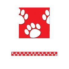 Red With White Paw Prints Straight