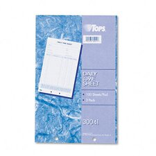 Daily Time and Job Sheets, 100/Pad, 2/Pack