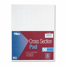 Section Pads, 8 Squares, Quadrille Rule, Letter, 50 Sheets / Pad