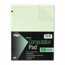 Engineering Computation Pad, Grid to Edge, Quad Rule, Letter, 100-Sheet/Pad