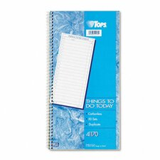 Things To Do Spiral Daily Agenda Book, Two-Part Carbonless, 50/Pad