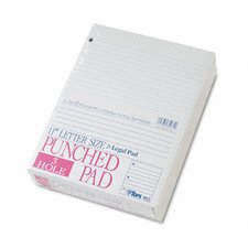 Three-Hole Punched Pad, Wide Rule, 50-Sheet Pads/Pack