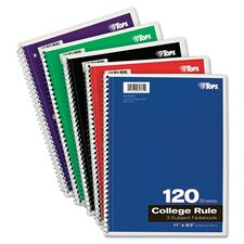 Wirebound 3-Subject Notebook, College Rule, 120 Sheets/Pad