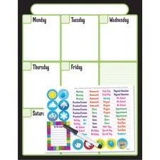 Black Weekly Calendar Kit Wipe-off
