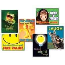 "Assorted ""Attitude and Smiles"" Themed Motivational Prints, 6/Pack"
