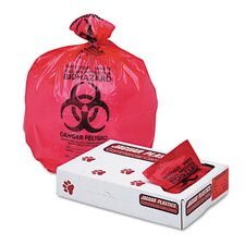 "Health Care ""Bio-hazard"" Printed Liners, 1.3mil, 33 x 39, Red, 150 per Carton"