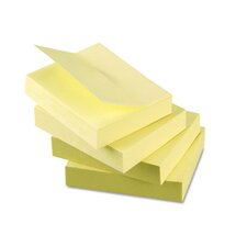 Recycled Sticky Notes, 1.5 X 2, Yellow; 12 100-Sheet Pads/Pack