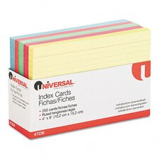 Index Cards, 4 x 6, Blue/Salmon/Green/Cherry/Canary, 100 per Pack (Set of 2)