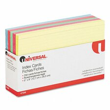 "Universal Index Card, 5""x8"", Blue/Salmon/Green/Cherry/Canary, 100/pack"