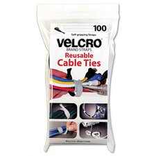 "Reusable Self-Gripping Cable Ties, 1/2"" x 8"", 100 Ties/Pack"