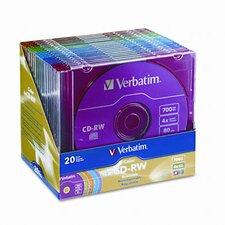 Cd-Rw Discs, 700Mb/80Min, 4X, 20/Pack