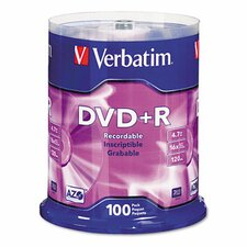 <strong>Verbatim Corporation</strong> Spindle Dvd+R Discs, 4.7Gb, 16X, Spindle, 100/Pack