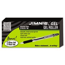 Jimnie Roller Ball Stick Gel Pen, Medium, 24 Per Box