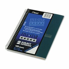 Five Star Wirebound Notebook, College Rule, Perforated, 6 X 9-1/2, 2 Subject 100 Sheets