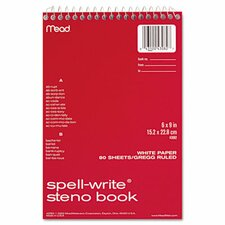 Spell-Write Steno Book, Gregg Rule, 6 X 9, 80 Sheets/Pad