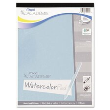 <strong>Mead</strong> Academie Watercolor Pad, 9 x 12, White, 15 Sheets