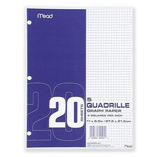 "Graph Paper, 5""x5"" Quad, 3-Hole Punch, 8-1/2""x11"", 240 Sheets  per Box, White"