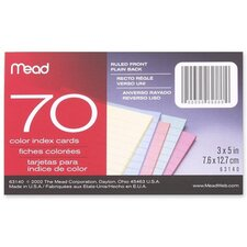 "Index Cards, Ruled, 70 Sheets, 3""x5"", Assorted"