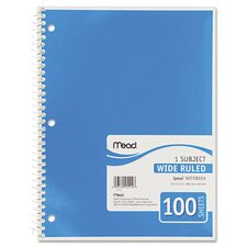 Spiral Bound Notebook, Wide/Margin Rule,10-1/2X8, 1 Subject 100 Sheets/Pad