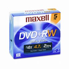 DVD+RW Discs, 4.7GB, 4x, with Jewel Cases, Silver, Five/Pack