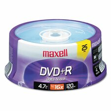 DVD+R Discs, 4.7GB, 16x, Spindle, Silver, 25/Pack