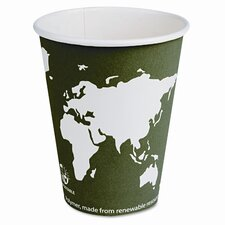 World Art Renewable Resource Compostable Hot Cups, 12 Oz, 1000/Carton