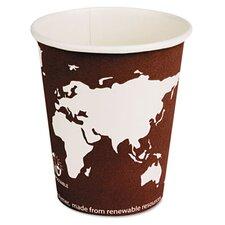 World Art Renewable Resource Compostable Hot Drink Cups, 8 Oz, 1000/Carton