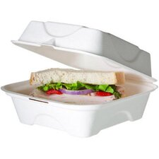 Bagasse Hinged Clamshell Containers in White