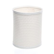 Budget Chelsea Pattern Wicker Round Wastebasket in White