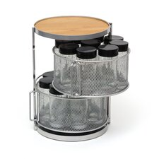 Two Tier Metal and Bamboo 18 Bottle Round Spice Tower