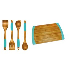 5 Piece Bamboo Cutting Board & Kitchen Tool Set