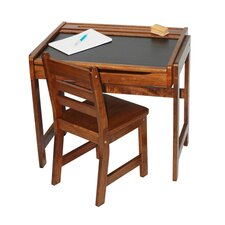 Kids' Desk with Chalkboard Top and Chair Set in Walnut