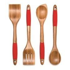 4 Piece Kitchen Utensil Set in Red
