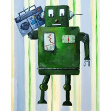 Patchwork Donka Loves 80s Music Robot Canvas Print by Liz Clay