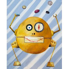 Patchwork Mitmit Loves Donuts Robot Canvas Print by Liz Clay