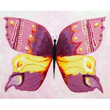 Patchwork Admiral Butterfly Giclee Canvas Print in Pink by Liz Clay