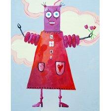 Zorba Loves Flowers Robot Canvas Art