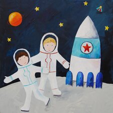 Wit and Whimsy Brothers On the Moon Giclee Canvas Print by Liz Clay