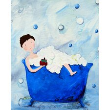 Wit & Whimsy Boy in a Tub Giclée Canvas Print