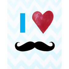 I Heart Mustaches Paper Print