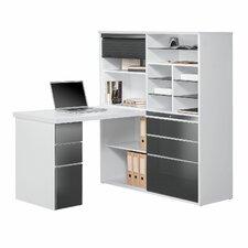 Schreibtisch-Regalkombination mit Schiebetür, Utensilienschublade, Rollo und Glasböden