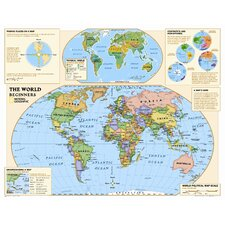 Kids Beginners World Wall Map (Grades K-3)