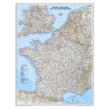 <strong>National Geographic Maps</strong> France, Belgium, and The Netherlands Classic Wall Map