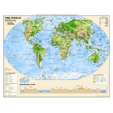 Kids Physical World Wall Map (Grades 4-12)