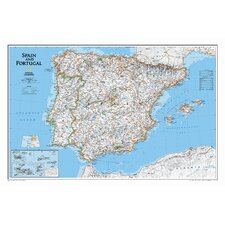 Spain & Portugal Classic Wall Map