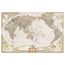 World Executive Pacific Centered Englarged Wall Map