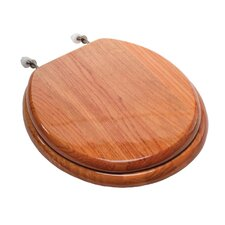 Designer Solid Round Wood Toilet Seat with Hinges