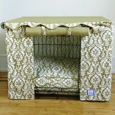 Dog Crate Cover in Damask