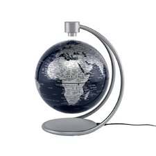 "8"" Levitating Globe in Metallic Silver and Blue"