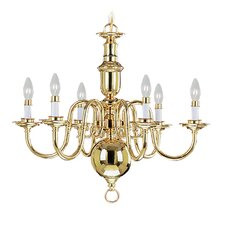 Beacon Hill Six Light Chandelier in Polished Brass
